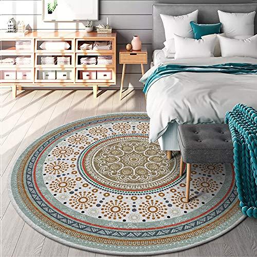 Mat Alfombra redonda de algodón con diseño de mandala europeo, para sala de estar, dormitorio, estudio, mesa de centro
