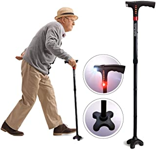 Walk Buddy Adjustable Walking Stick 4 Prong Anti-Slip Quad Cane for Seniors with FM Radio, LED Guide Light, S.O.S Alarm, Firm Grip Handle, USB Charger - Stands On Its Own, No Batteries Required