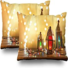 LALILO Set of 2 Throw Pillow Covers, Various Colorful Ramadan Decorative Eid Ramadan Mubarak Light Double-Sided Pattern Sofa Cushion Cover Couch Decoration Home Gift Bed Pillowcase 18x18 inch