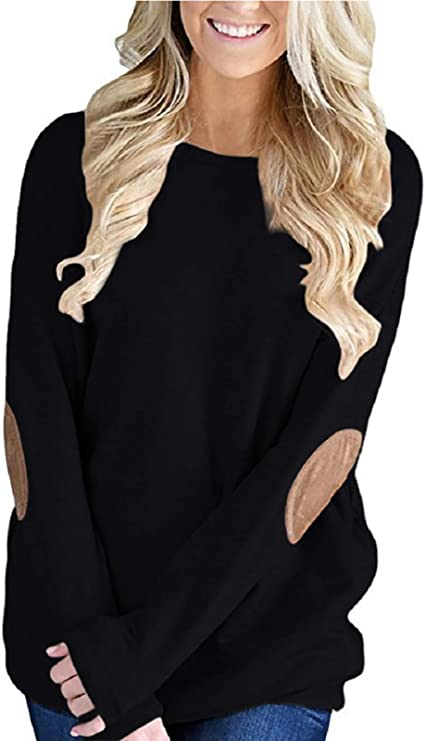 YIOIOIO Women Casual Loose Long Sleeve Solid Color Crewneck Elbow Patch Sweatshirt Tunic Tops