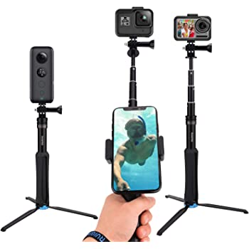 CamGek Extendable Pole/Selfie Stick with Aluminum Tripod for GoPro, Handheld Telescoping Monopod Waterproof Hand Grip for GoPro Max/Hero 8/7/6/5/4/2018 Osmo Action XiaoYi and Others