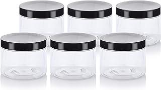 Clear Refillable PET Plastic Low Profile Jar - 6 oz (6 Pack) + Labels