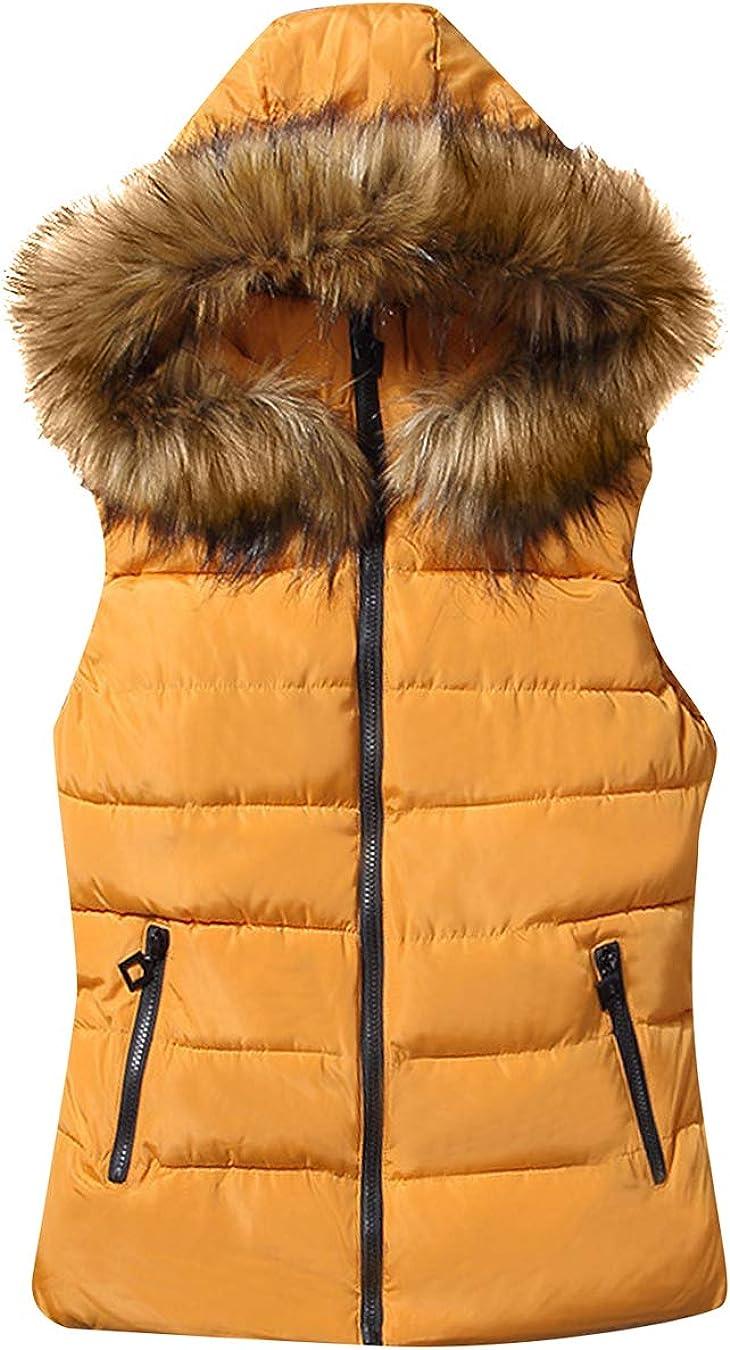 EFOFEI Womens Sleeveless Removed Vest Coat Fur Collar Pocket Hooded Slim Winter Quilted Puffer Vest Coat