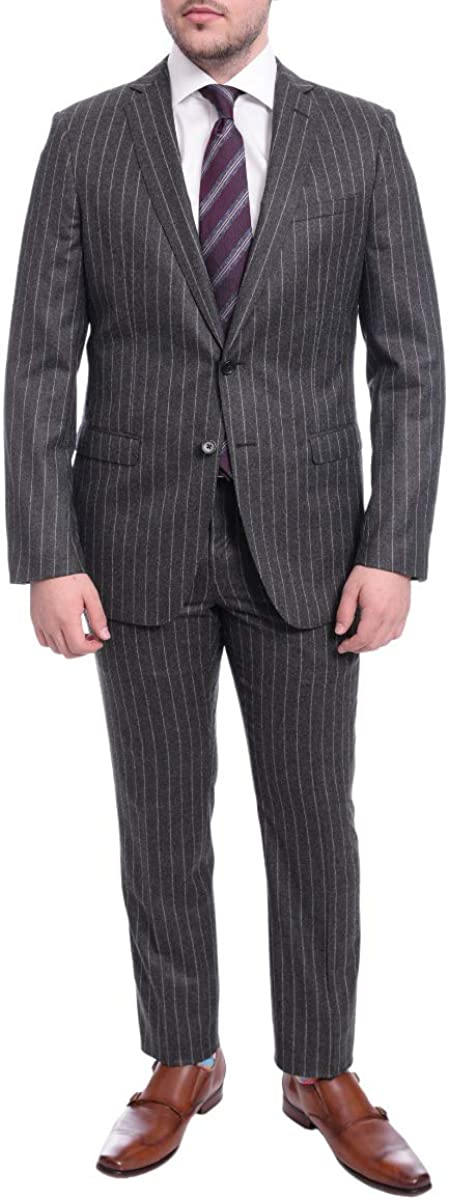 B. Jacket Slim Fit Gray Chalk Stripe Two Button Half Canvassed Vbc Wool Suit