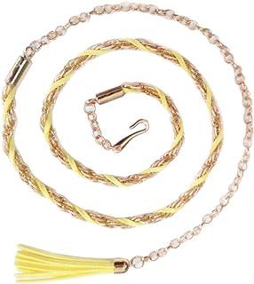 Weave Waist Chain Leisure Wild Tassel Decorative Belt-Yellow