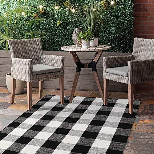 Seavish Cotton Buffalo Karierter Teppich, handgewebt, wendbar, Chindi-Bereich, schwarz/weiß, 3' x 5'