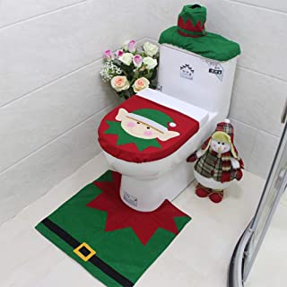 Christmas Bathroom Decorations 3 Pcs Set Santa Snowman Toilet Seat Cover Rug and Water Tank Top Lid Cover with Tissue Box Holder Xmas Decorations,1