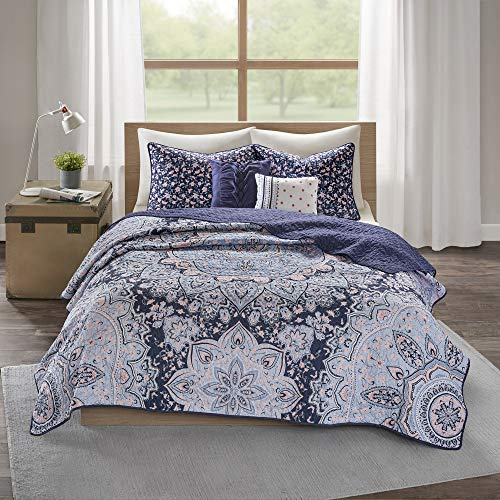 4pc Twin/Twin Extra Long Willow Boho Reversible Coverlet Set - Blue