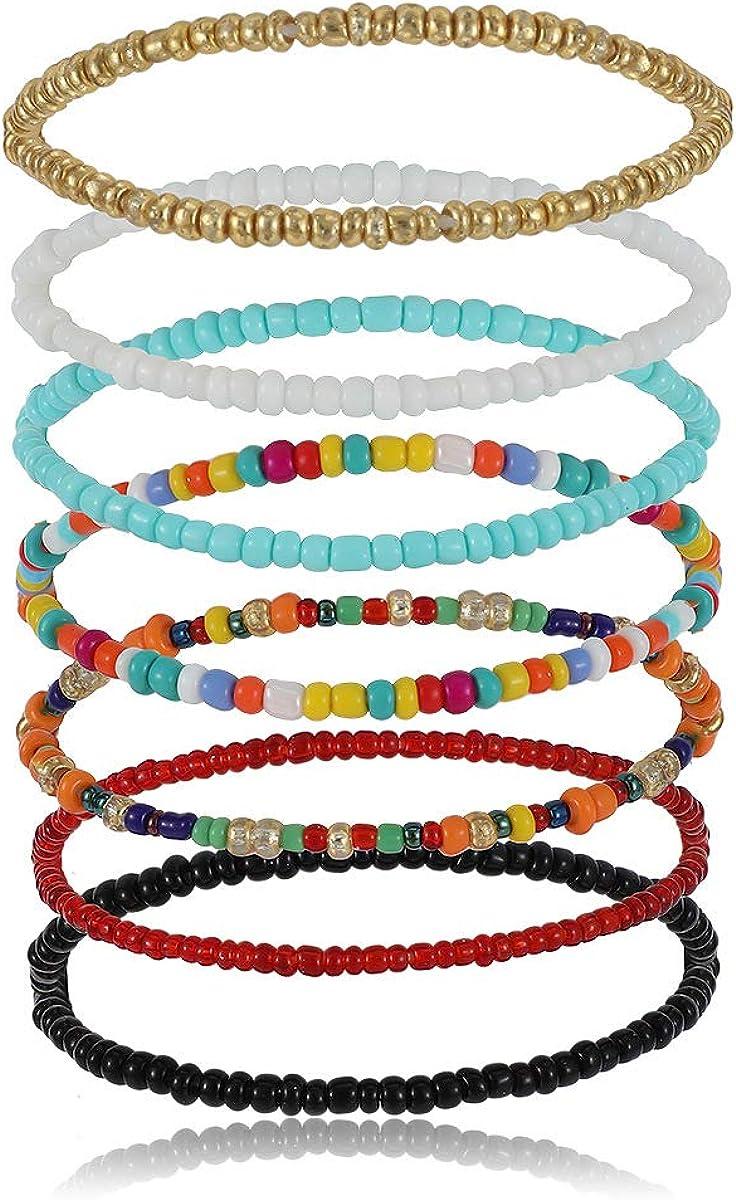 Konpicca 7PCS Elastic Nippon regular agency Beaded Bracelets Handmade for Women Japan's largest assortment Girls