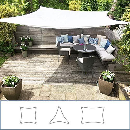 Toldo Vela Clara Shade Sail blanco impermeable sol vela de sombra para jardin impermeable UV Canopy (Square 3.6m)