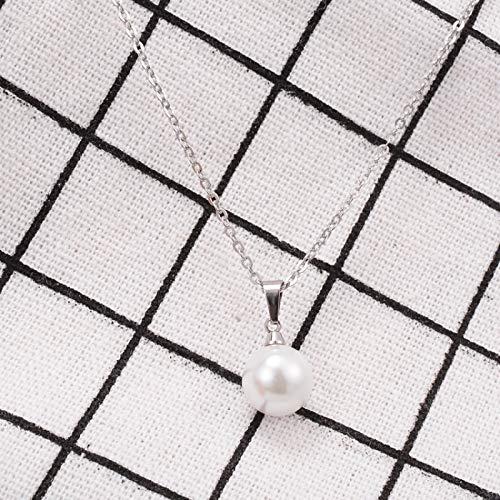Shangwang - Collar de perlas de acero de 18 quilates para mujer, cadena de oro