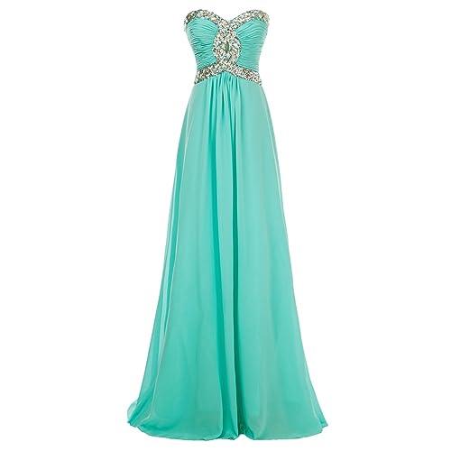 a69bb717789 Erosebridal Long Chiffon Prom Dress Evening Gown for Women Crystal Beaded  Bridesmaid Dress