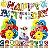 rosepartyh Decoracion Cumpleaños Patrulla Canina Globos Adorno de Torta Feliz Cumpleaños del Pancarta Adornos para Cupcakes para Niños Decoraciones de Fiesta Cumpleaños de Patrulla Canina Dog
