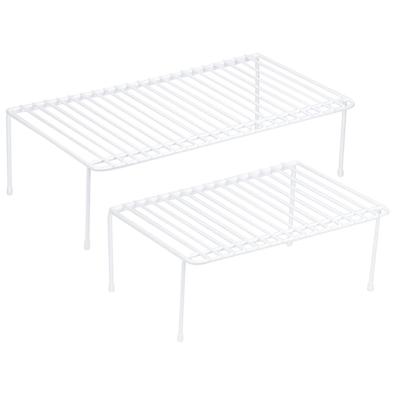 DecorRack Set of 2 Counter Helper Wire Shelf, Kitchen Cabinet Shelf Organizer, Closet and Pantry Storage Extra Rack, Freezer Instant Space Organizer, Steel with White Plastic Coating bruyxegcyjuwv245
