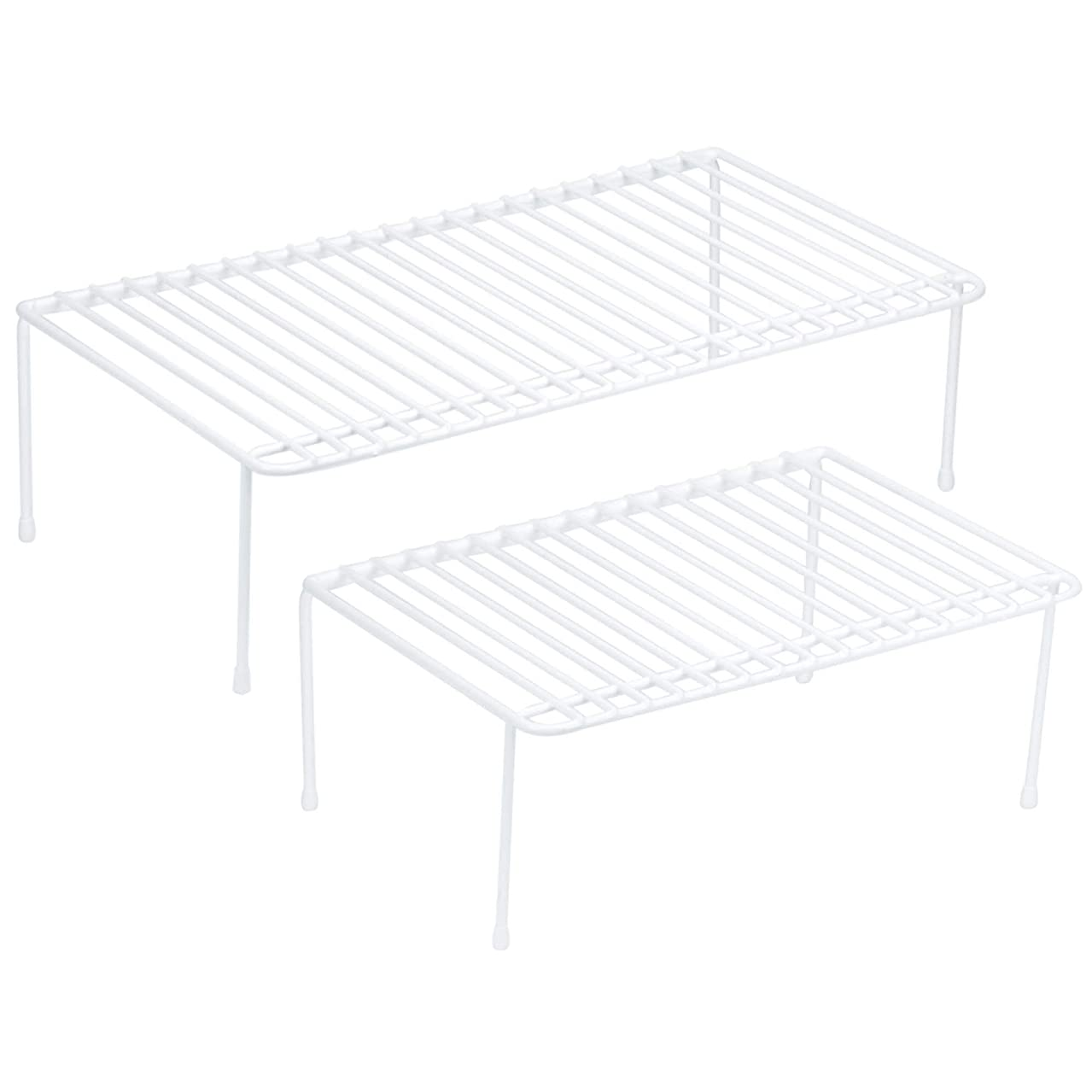 DecorRack Set of 2 Counter Helper Wire Shelf, Kitchen Cabinet Shelf Organizer, Closet and Pantry Storage Extra Rack, Freezer Instant Space Organizer, Steel with White Plastic Coating
