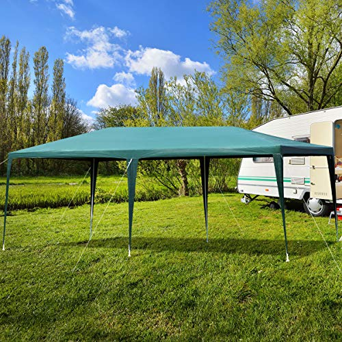 COSTWAY 3X6M Outdoor Garden Gazebo Party Tent, Waterproof & Anti-UV Heavy Duty Marquee Wedding Canopy Shelter, Powder Coated Steel Frame with PP Joints, Easy to Install (Green)
