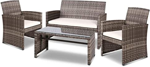Gardeon 4pc Outdoor Furniture Rattan Chair Table Set-Grey