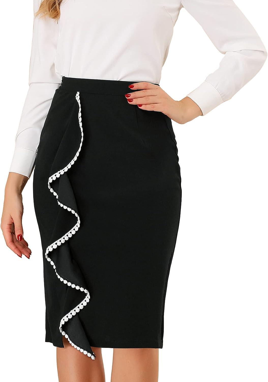 Allegra K Women's Ruffle Work Business Casual Side Slit Pencil Skirt