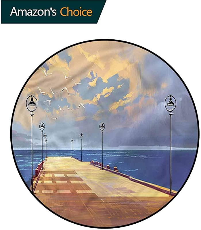 RUGSMAT Fantasy Round Area Rug Bridge Pier Sea Harbor Non Slip Bathroom Soft Floor Mat Home Decor Diameter 24