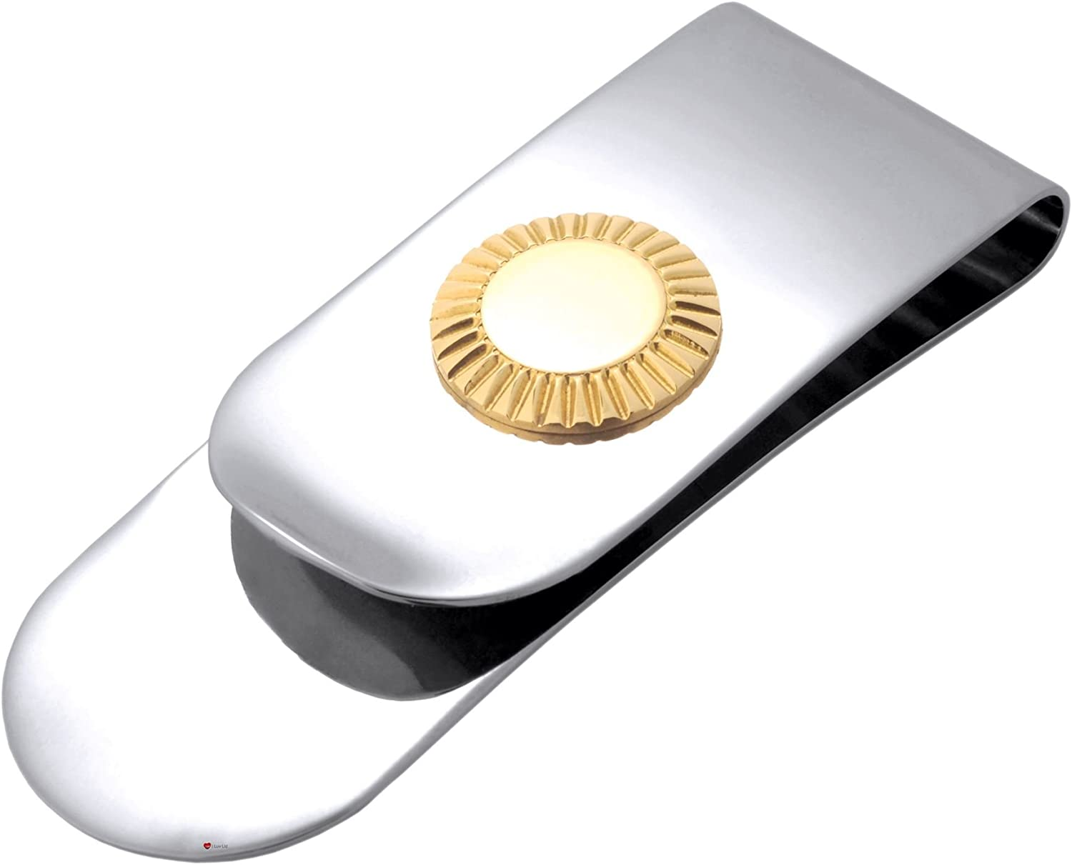 I LUV LTD Money Clip Stainless Steel and Gold Plate Gents - Luxury Presentation Box