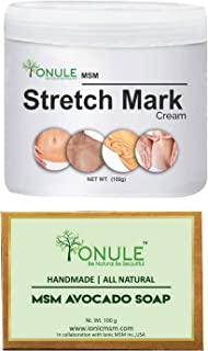 Ionule MSM Stretch Mark Cream with Avocado Soap for Men and Women Combo Pack of 2 - (2 X 90 gm)