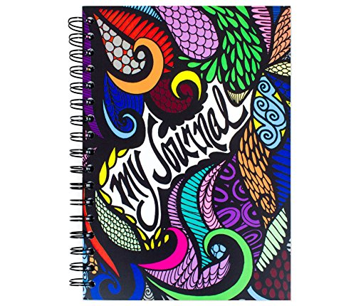 """ColorIt 9 x 6""""My Journal"""" with Bold Colors - 100 Lightly Lined Sheets, Double Spiral Notebook, Hardcover Journal with Hand Drawn Design, Perfect Creative Writing Journals for Women & Girls"""