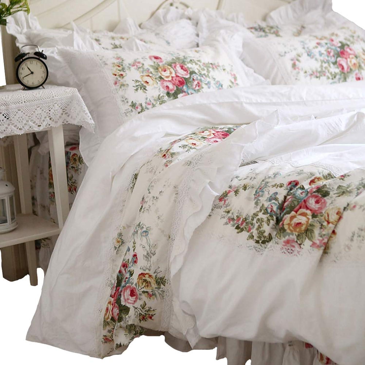 ミル呼び出す交渉するバラの花柄とラッフルフリルデザイン アンティーク風ホワイトベッドカバーセット