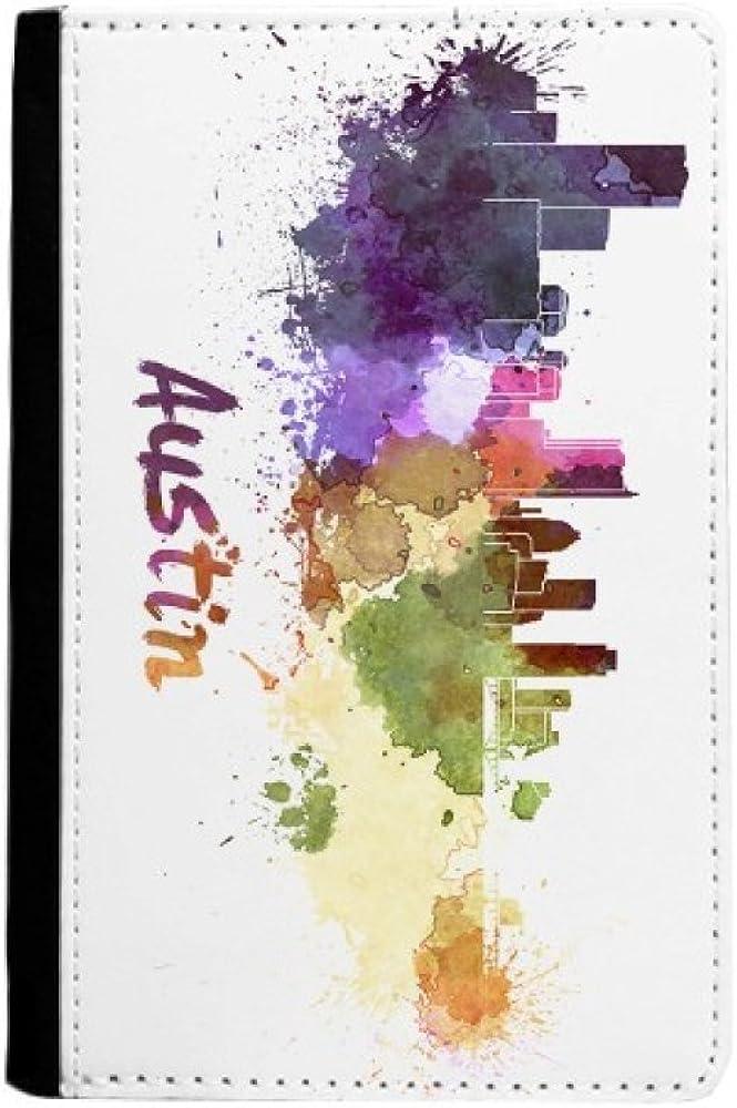 Austin America City Watercolor Passport Super sale Max 53% OFF Notecase Burse Holder Wa