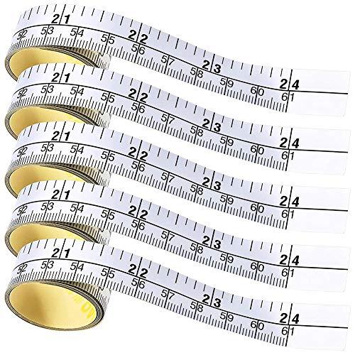 SODIAL Selbstklebendes MaaEn Band, Doppelte Skala Stock auf Workbench Lineal, Tisch Klebe Band Maa für die Arbeit (5 StüCk, 24 Zoll)