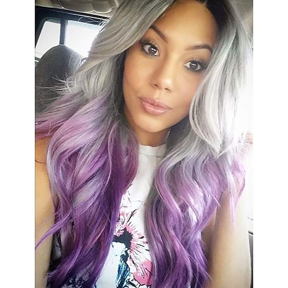 Ombre Gray to Purple Lace Front Wig Long Wavy Glueless Synthetic Wigs for Women 3 Tones Dark Roots Heat Resistant Replacement Hair Middle Parting Half Hand Tied