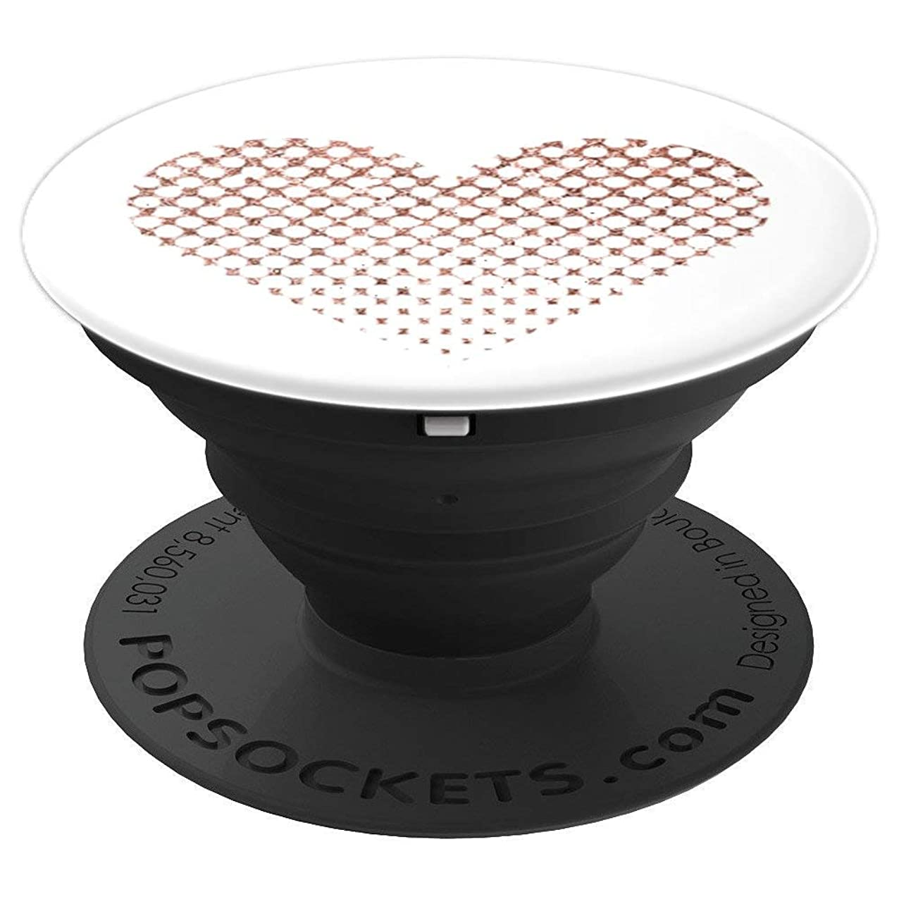 Rose Gold Heart Pop Socket Valentines Day White Dots Love - PopSockets Grip and Stand for Phones and Tablets nohzmsnhgaeyy498