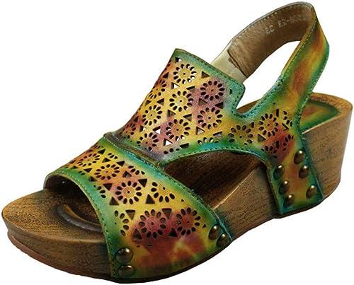 OEYW Plate-Forme Compensée Sandales Pour Femmes, Chaussures De Wedge Vintage Fait à La Main En Cuir Rivet Chaussures Creux Peep Toe Sandales Chaussures à Talons épais