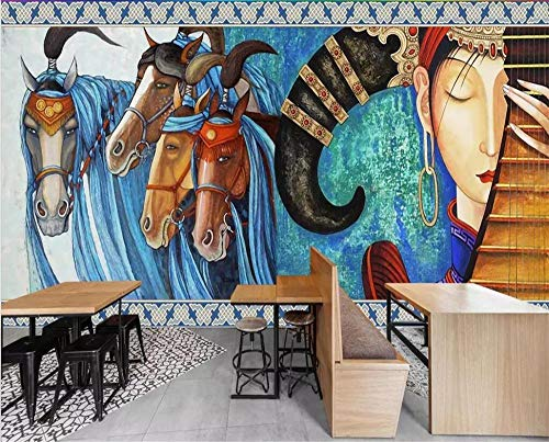 XLXBH zelfklevend 3D-behang, 3D-muurbehang, Europese kunst, handgeschilderd, dans Mongol, paard, hotel, restaurant achtergrond, wandbehang, kinderkamer, kantoor, eetkamer, woonkamer decoratie 300x210 cm (WxH) 6 rayas - autoadhesivas