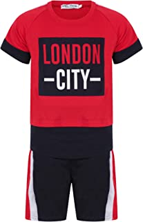 Aelstores Boys London City Shorts Set Summer Clothing T-Shirt Short Sleeve Top and Shorts Outfit for Kids New 3-14 Years