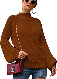 Imily Bela Womens Oversized Sweaters Cable Knit Mock Neck Lantern Long Sleeve Pullover Jumper