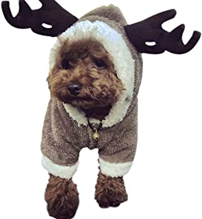 Pet Dog Christmas Costume Elk Clothes Dog Sweatshirts Halloween Moose Costume Dog Puppy Hoodie Coat Jacket Clothes Soft Coral Velvet Fleece Winter Warm Sweater Jumpsuit Outfit Apparel for Dogs Cats