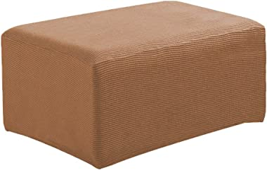 XIMING Stretch Ottoman Pouf Cover Footrest Stool Slipcover Protector - Brown, as described