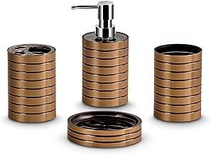 Freelance Miami Polystyrene 4 Pieces Bathroom Set-Dispenser, Toothbrush Holder, Tumbler & Soap Dish, Copper