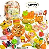 JoyGrow 70 PCS Tagliare i Giocattoli Alimentari Frutta Verdura Fast Food Sushi Affettare Giocare Cibo Giocattoli educativi Set di Alimenti con Zaino (Orange)
