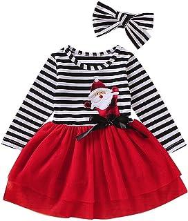 Divilon 2PCS Toddler Baby Girl Christmas Dress Cotton Long Sleeve Santa Prints Christmas Princess Tutu Dress+Headband