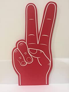 Palm Printed Giant EVA Foam Hand Glove Peace Sign Finger - Red