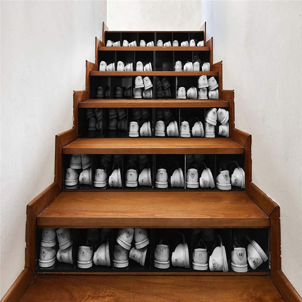 TREES 3D Mueble De Zapatos Vintage Escalera Auto - Adhesivo Pegatinas De Pared Adhesivos Decorativos DIY Art Mural Escaleras Desmontables, Pegatinas De Vinilo,100 * 18 * 6pcs: Amazon.es: Hogar