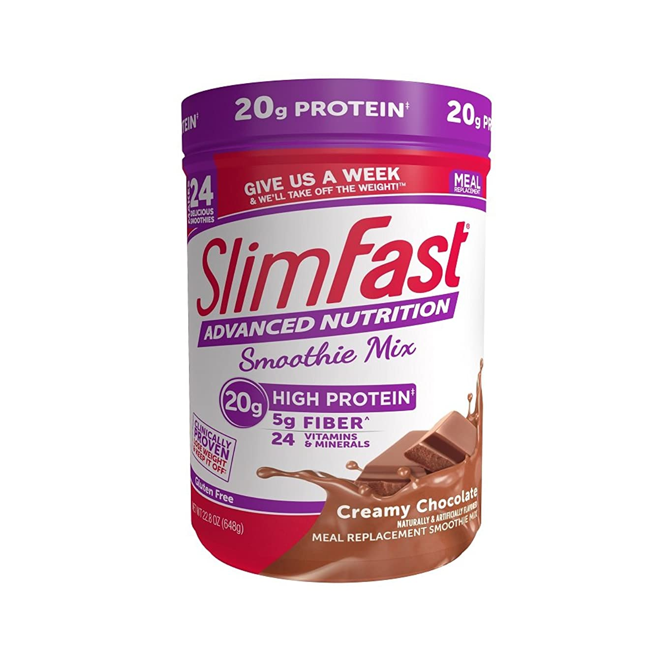 SlimFast Advanced Nutrition Creamy Chocolate Smoothie Mix – Weight Loss Meal Replacement – 20g of protein – 22.8 oz. Canister – 24 servings