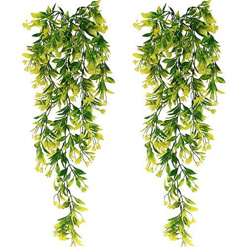 SPTwj 2 Pack Künstliche Ivy Vine Künstliche Pflanzen Gefälschte Ivy Hanging Home Office Outdoor Indoor Decor Gesamtlänge von ca. 77 cm gelb