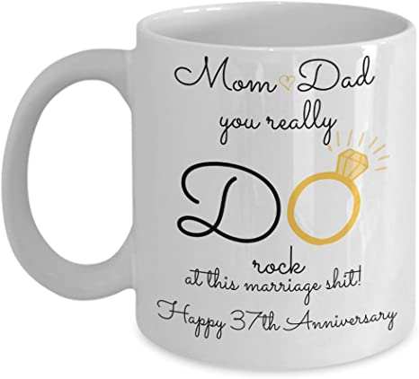 Amazon Com 37th Wedding Anniversary Gift For Parents Mom And Dad Best Happy 37 Th Yr Thirty Seventh Thirty Seven Year Unique Fun Ideas From Kids Son Daughter Kitchen Dining
