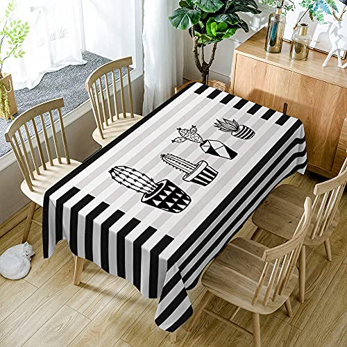 XXDD Mantel Rectangular Sencillez Rayas Blancas y Negras Patrón de Plantas en macetas Mantel Lavable a Prueba de Polvo para Boda A5 140x180cm