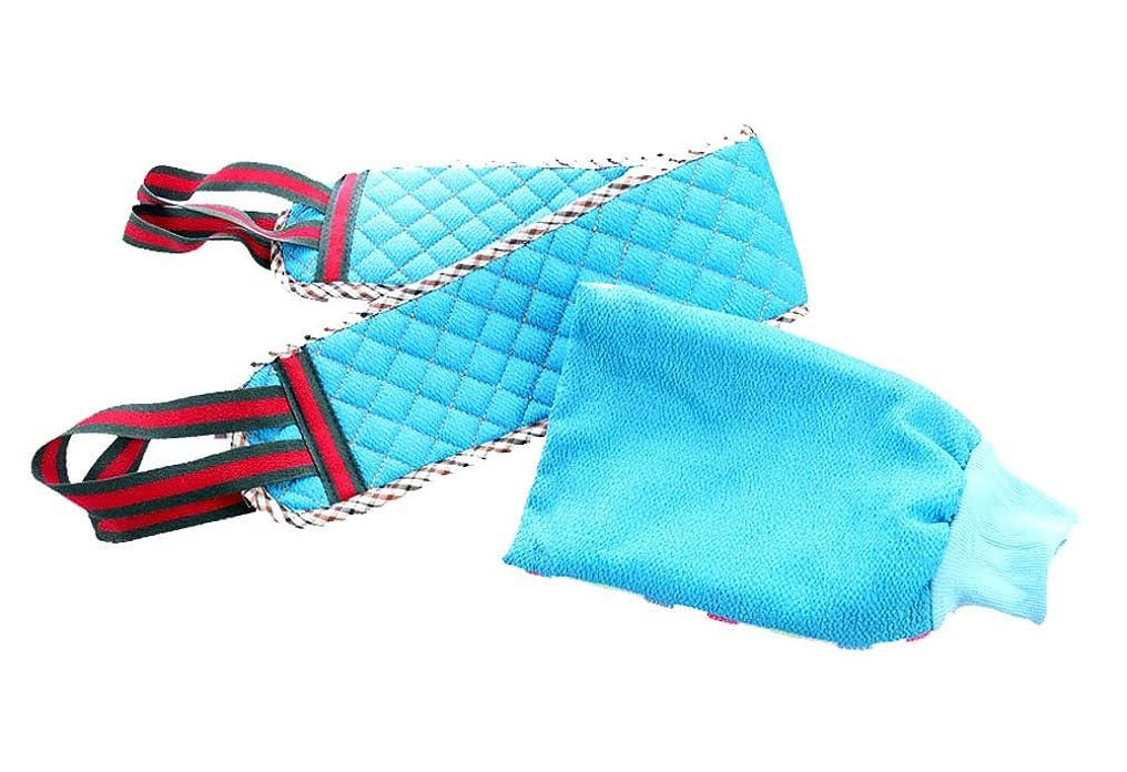 定説気付くビルバスタオルプルバックストリップ両面厚い強力な泥の手袋、青