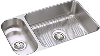 Elkay ELUH3219DBG Lustertone Classic 30/70 Double Bowl Undermount Stainless Steel Sink Kit