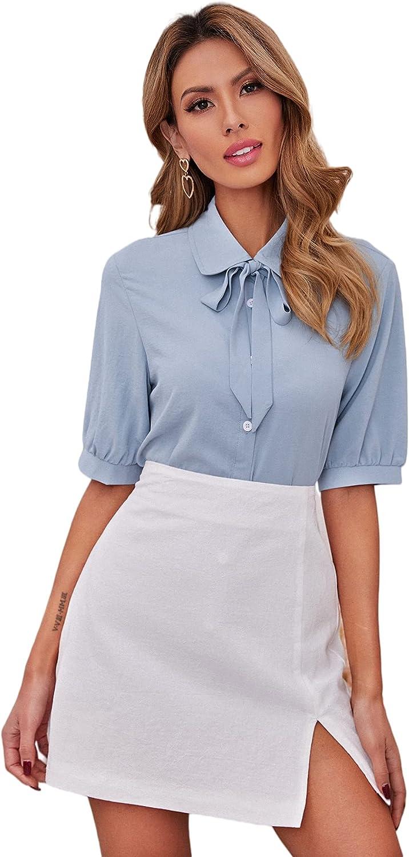 SheIn Women's Elegant Puff Sleeve Bow Tie Neck Button Down Work Shirt Blouse Top