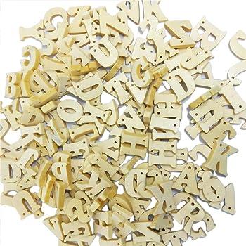 ULTNICE Boutons en Bois de Lettres avec 2 Trous Boutons DAlphabet bricolage pour Coudre 100 pcs